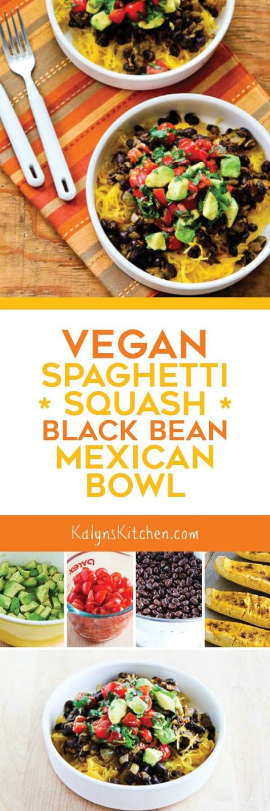 This Vegan Spaghetti Squash Black Bean Mexican Bowl is delicious and easy to make. This is a perfect Meatless Monday dinner that's also gluten-free, low-glycemic, dairy-free, and South Beach Diet friendly! [found on KalynsKitchen.com]