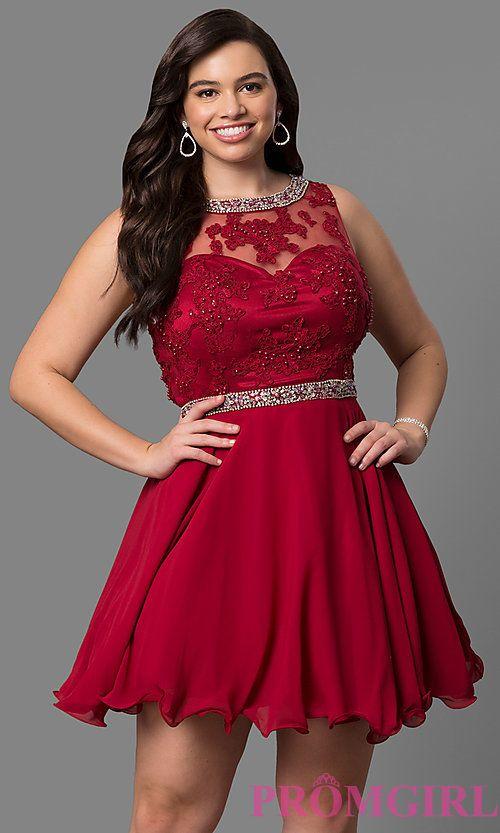 Lace-Bodice Plus-Size Short Prom Dress