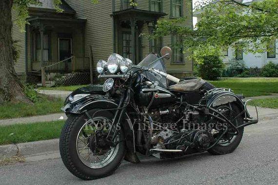 Harley Davidson Motorcycle 1939 Knucklehead Sidecar Vintage  photo
