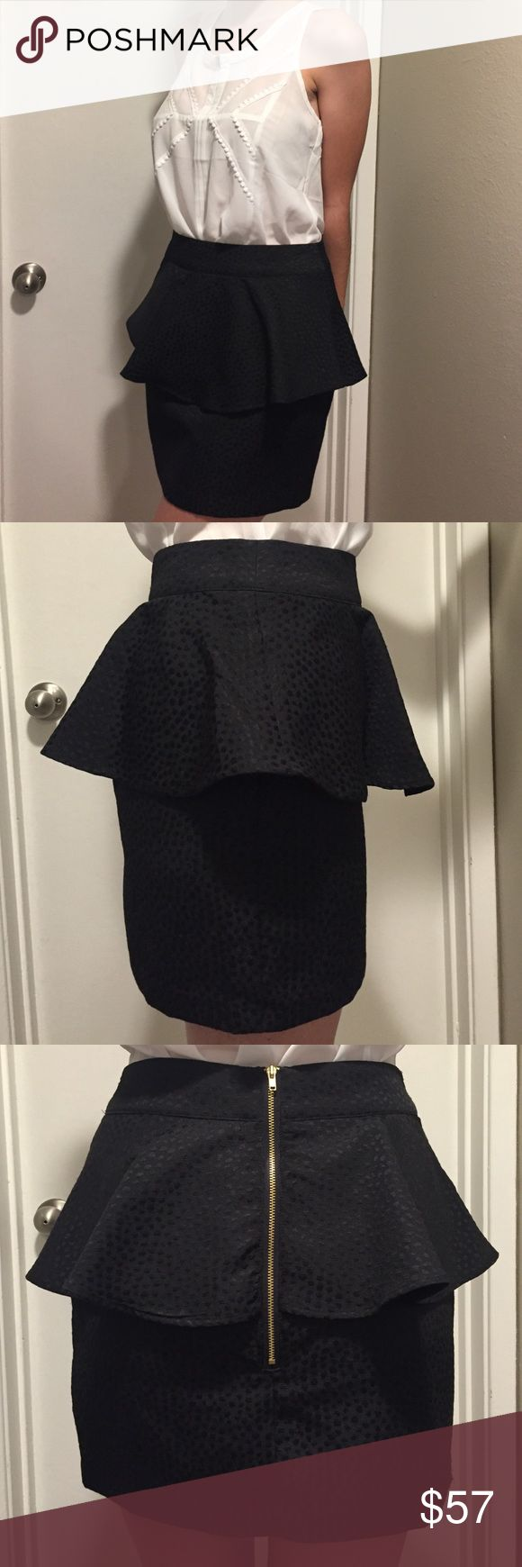 UO Black Peplum Skirt Beautiful brand new Black Peplum skirt with with gold zipper in back and dotted texture all over. Curve hugging skirt. Urban Outfitters Skirts Pencil