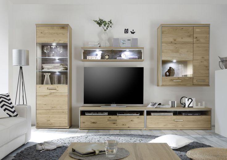 Wohnwand Blue Monday 4tlg Weiß Hochglanz \/ Trüffel passend zum - möbel wohnzimmer modern