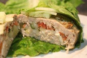 Chicken Gyro Stufz Burger in Romaine Lettuce Wrap stufz ultimate stuffed burger maker