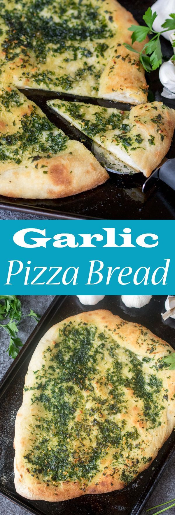 Garlic Pizza Bread ~ a crispy and chewy crust with a simple-but-delicious salty garlic and parsley topping!
