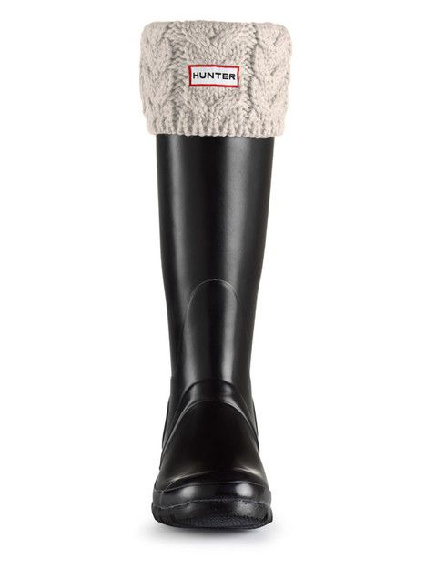 Pint of Guinness!! Hunter Chunky Cable Cuff Welly Socks - Ivory S24187