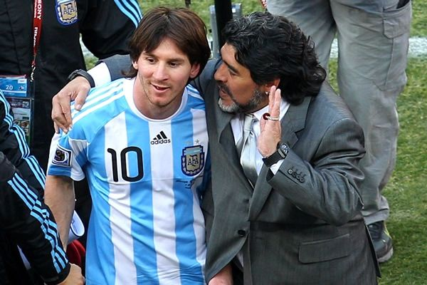 Lionel Messi with Maradona, manager (Argentina)