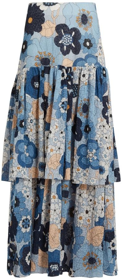 CHLOÉ Tiered floral-print cotton maxi skirt. Maxi skirt fashions. I'm an affiliate marketer. When you click on a link or buy from the retailer, I earn a commission.