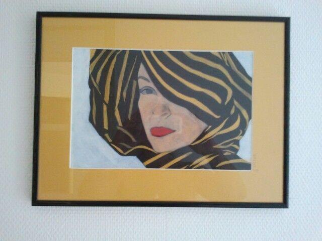 Portret in geel. Acryl.