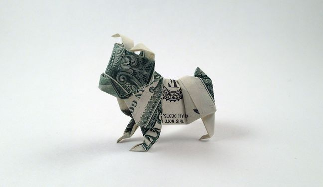 origami, origami dollar dog, origami dollars, how to make an origami dollar bulldog, origami tutorials, diy crafts