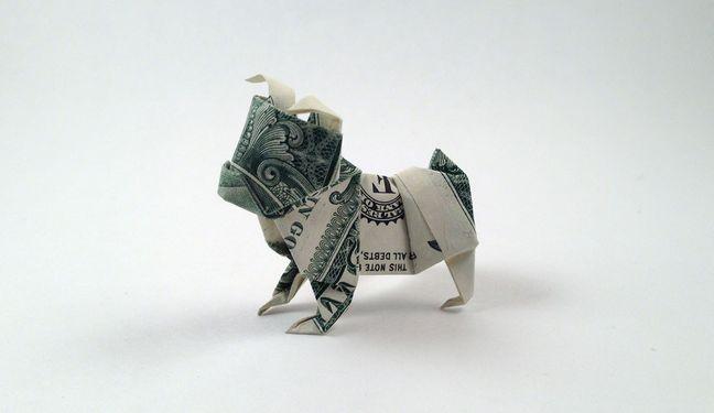 origami, origami dollar dog, origami dollars, how to make an origami dollar bulldog, origami tutorials, diy crafts