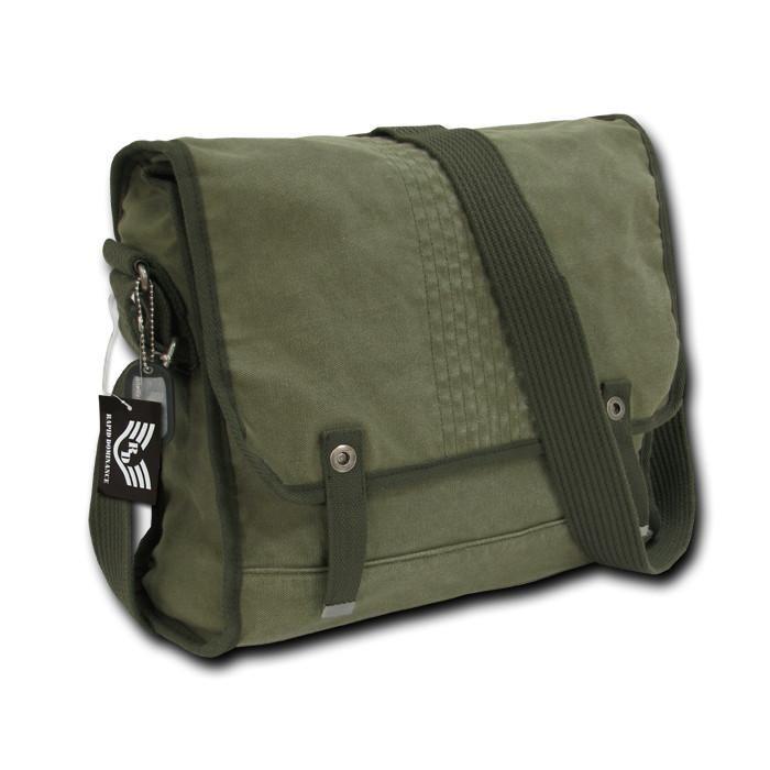 Rapdom Vintage Military Messenger Bag, Olive