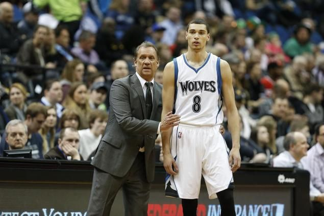 Head coach Flip Saunders talks with Zach LaVine while guiding the Timberwolves back in March.