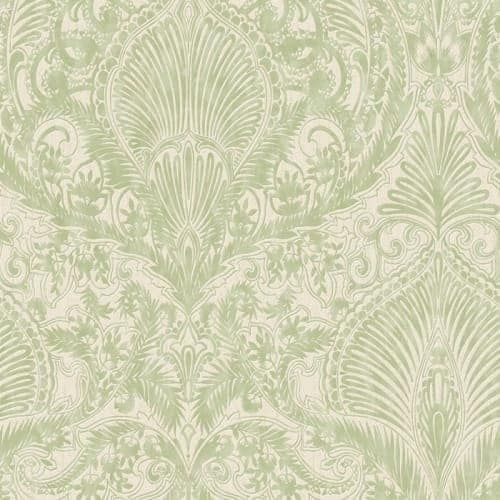 Graham and Brown 32-944 56 Square Foot - Burlesque Green and Cream by Julien MacDonald - Non-Pasted Non-Woven Wallpaper