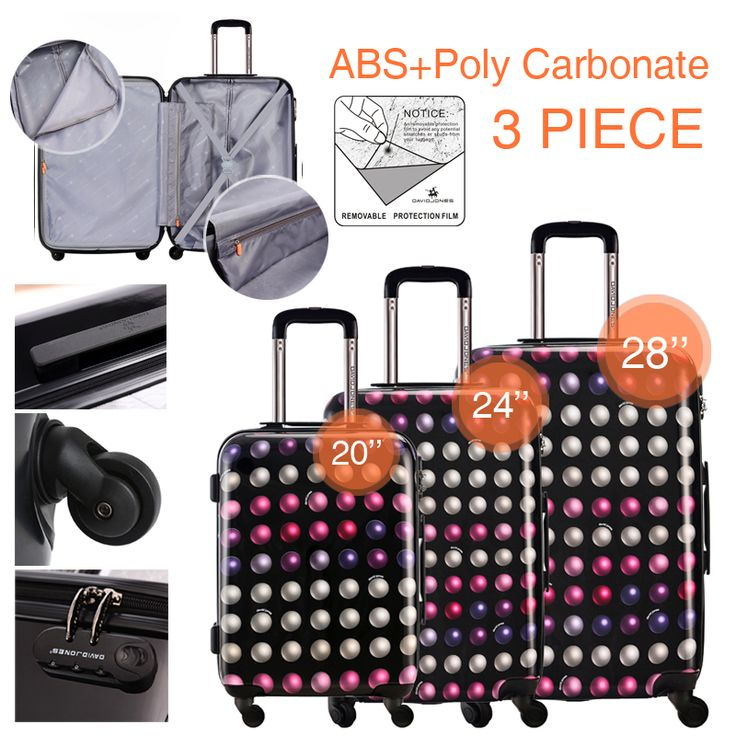 DAVIDJONES 3 Piece Spinner Luggage Set Vintage Print suitcase ABS+PC Water-resistant Upright Travel Trolley Rolling wheel box GET IT HERE