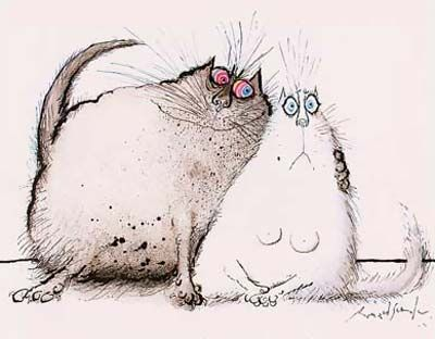 "Roue cat putting the move on a female who looks startled....""How do I get outta here?"" Ronald Searle Cultural Estate Ltd. http://www.ronaldsearleculturalestate.com/"