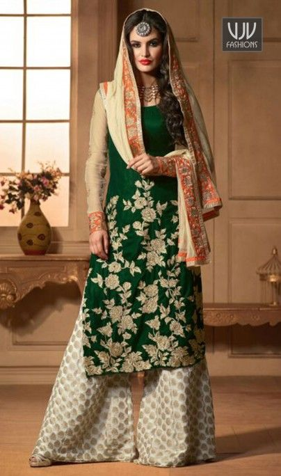 Ethnic Embroidered Work And Party Wear Designer Suit Look sensationally awesome with this green velvet designer suit. The fantastic attire creates a dramatic canvas with wonderful embroidered and resham work. Comes with matching bottom and dupatta.