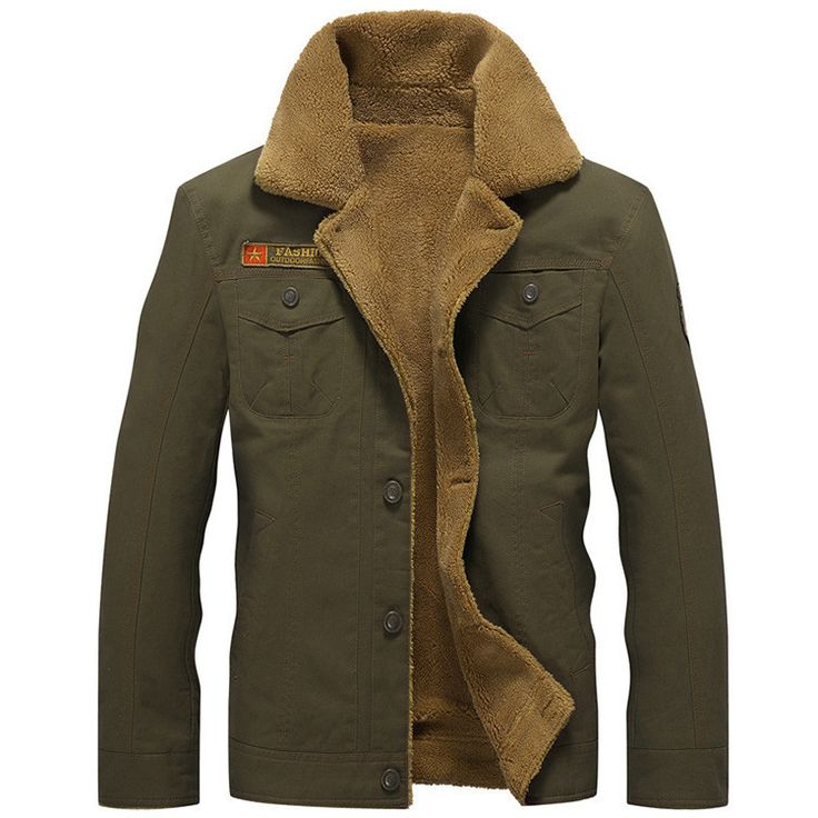 Men's Winter Jackets, Thick Fur Cotton Warm Jackets, Black, Plus Size Jackets, Black, Khaki, Army Green