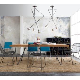 """Dylan Dining Table. Plank wood top, metal base. Medium wood planks (eco shesham wood), welded iron.80""""W x 36""""D x 29.50""""HCB2$899"""