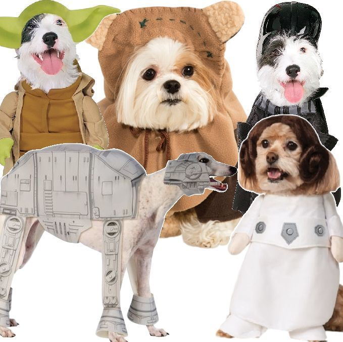 Pet Dog Cat Star Wars Yoda Ewok AtAt Leia Darth Vader Fancy Dress Costume Outfit