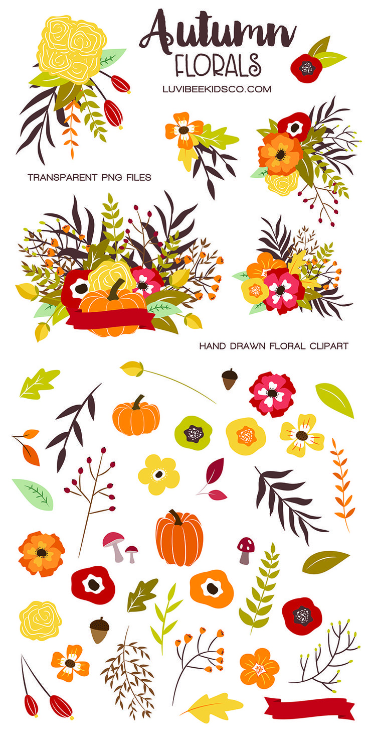Fall floral elements and arrangements clipart. | Fall ...