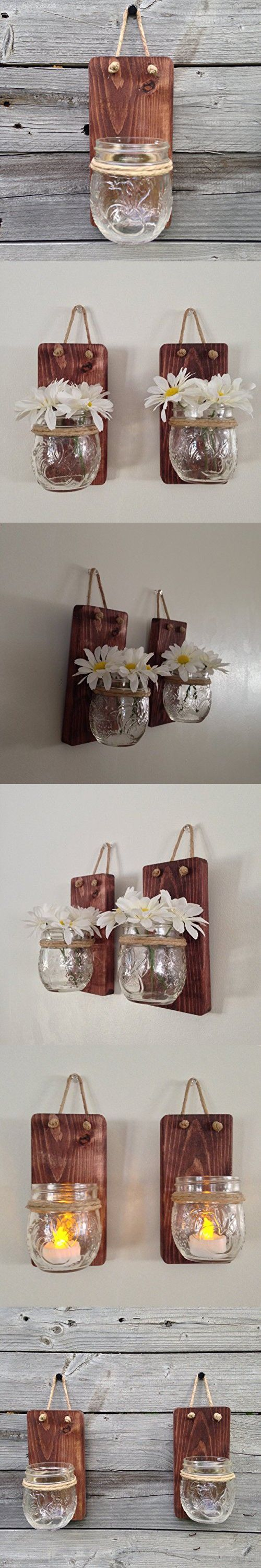 Set of Two Tennessee Wicks Small Mason Jar Wall Sconce with 8oz Jelly Jam Mason…