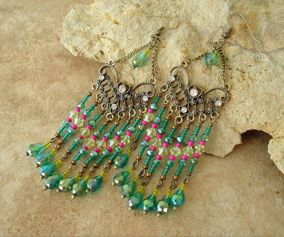 Chandelier Earrings Long Edgy Exotic Earrings by BohoStyleMe