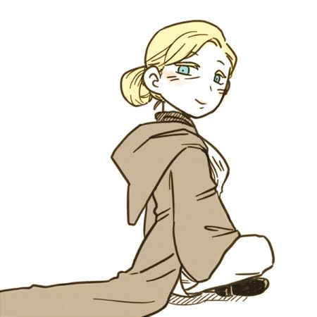 1girl blonde_hair blue_eyes boots cloak crossed_legs female genderswap hair_bun jedi looking_at_viewer losso lowres obi-wan_kenobi sitting smile solo star_wars