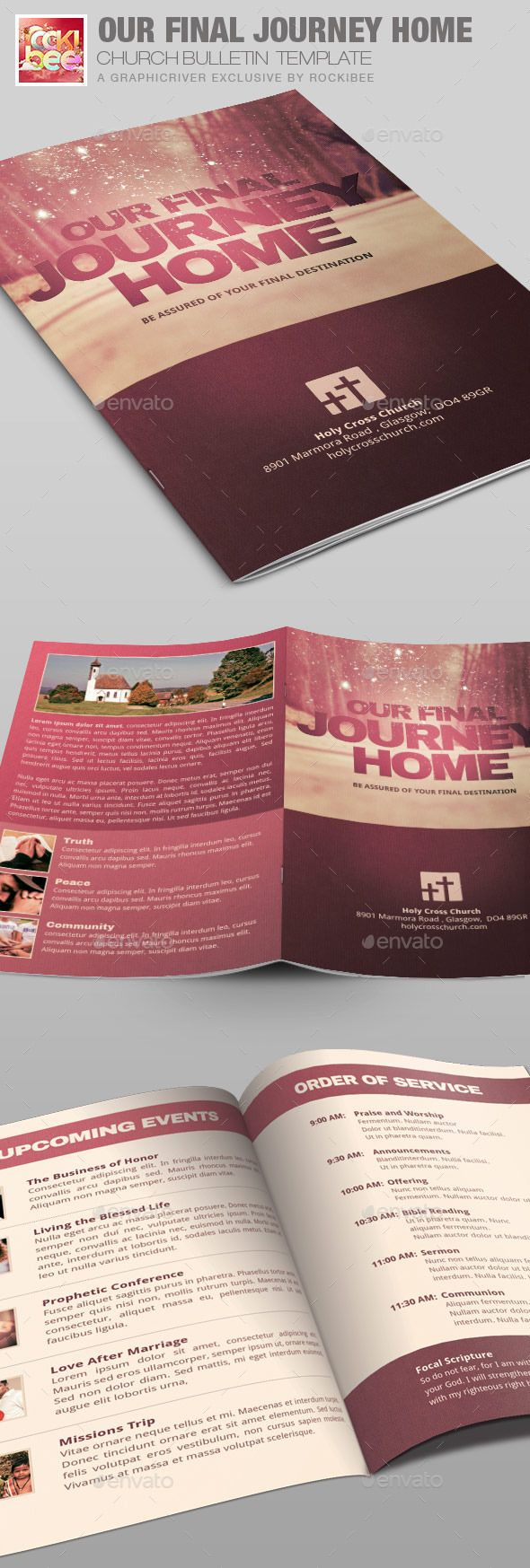 Our Final Journey Church Bulletin Template is sold exclusively on graphicriver, it is especially designed for Churches but can be used for many other events, the file is easy to edit and contains 5-One Click Color Options.