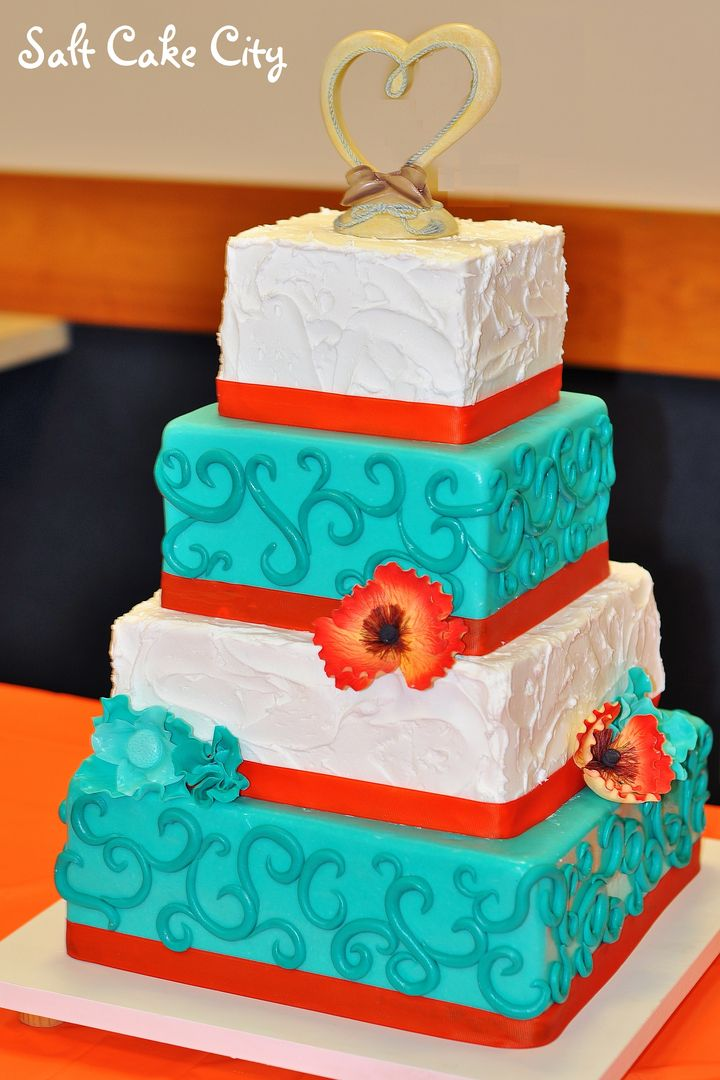 Salt Cake City (www.SaltCakeCity.com) Orange & Teal Rustic buttercream and swirls square Wedding Cake