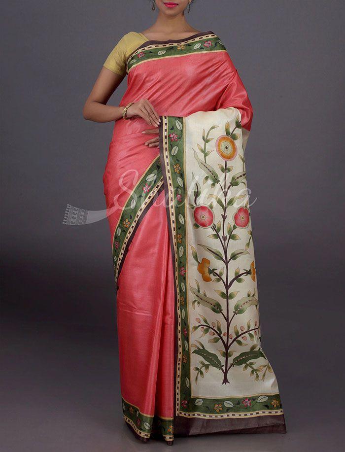 Shilpa Plain With Full Bloom Pallu Border Pure #KosaSilkSaree