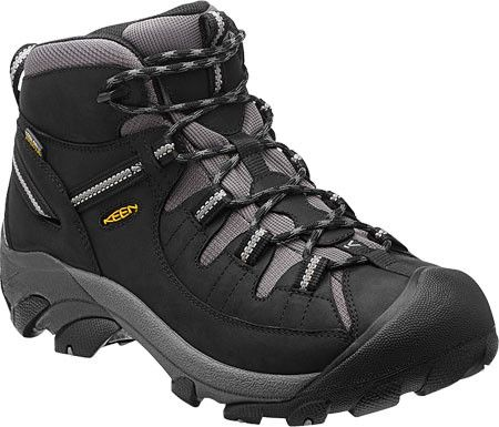 The Targhee II Mid Black Drizzle features: 4mm multi directional lugs Dual density compression molded EVA midsole Heel support structure KEEN.DRY ™ waterproof breathable membrane Non-marking rubber ou