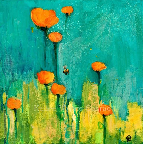 """Kellee Wynne Conrad Fine Art: New Series: Botanical Abstracts, """"Not a Moment too Soon"""" 12x12 acrylic....Busy Bees Series"""