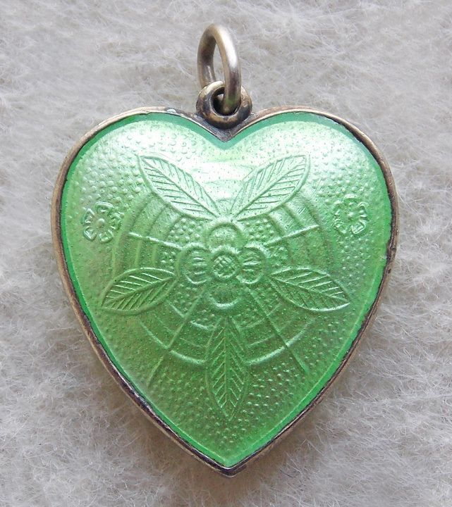 Fabulous STERLING & GUILLOCHE ENAMEL 2 Sided Vintage Puffy Heart Charm..