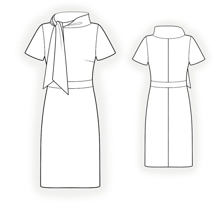 Dress With Tie Collar - Sewing Pattern #4315. Made-to-measure sewing pattern from Lekala with free online download.