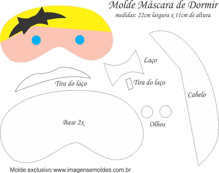 Molde Máscara de Dormir Alice País Maravilhas - Molde Feltro e EVA, Molde Máscara de Dormir Alice País Maravilhas - Molde Feltro - EVA e Artesanato