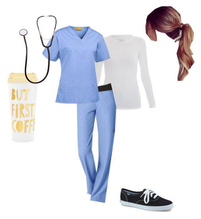 """Grey's Anatomy Costume"" by madisondayy on Polyvore featuring Majestic, WonderWink, Keds and ban.do"