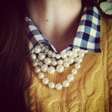 Collared shirt, sweater, pearls