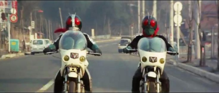 Old Nigo (left) and Sakurajima Ichigo (right) riding on their Modified Cyclone at the opening of KAMEN RIDER vs. SHOCKER (1972 movie)