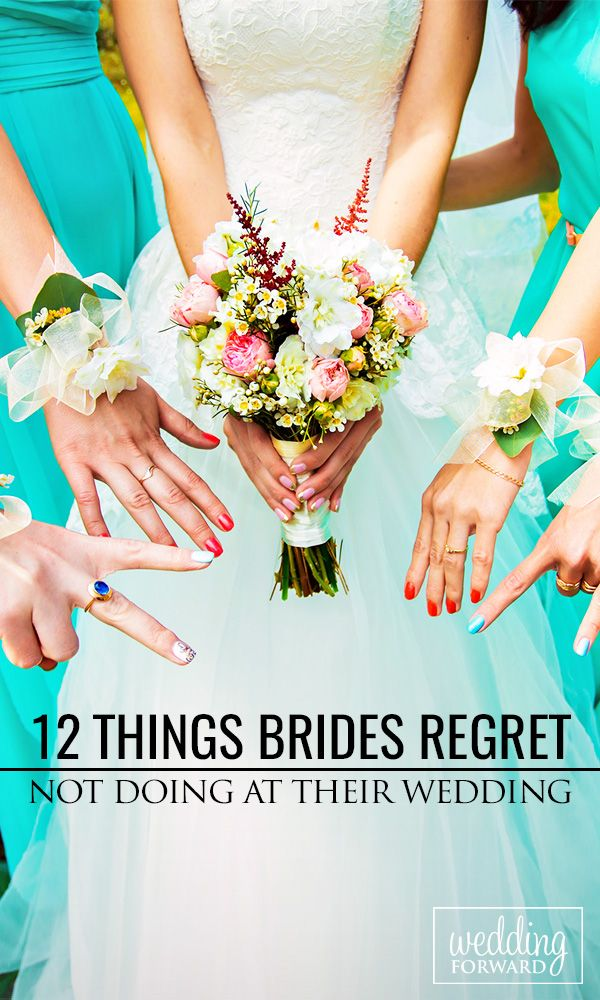 12 Things Brides Regret Not Doing At Their Wedding ❤ Wedding days are filled with many do's and don'ts but there are a few things that #brides often regret not doing at their #wedding... http://www.weddingforward.com/things-brides-regret-not-doing-at-their-wedding/ #wedding #weddingplanning #bride