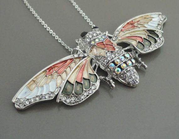 Statement Necklace  Butterfly Necklace  Silver Enamel