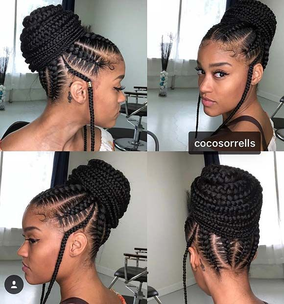 23 Beautiful Braided Updos For Black Hair Stayglam Hair Styles Black Hair Updo Hairstyles Braided Bun Hairstyles