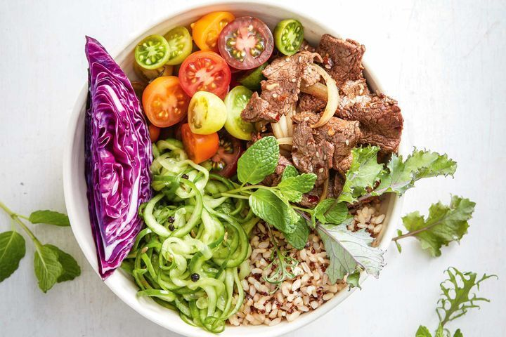 Spicy beef bowl with pickled cucumber