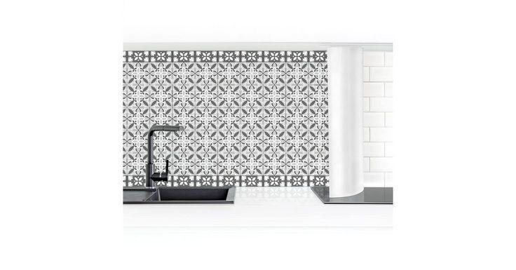 Küchenrückwand »Geometrischer Fliesenmix Blüte Grau«
