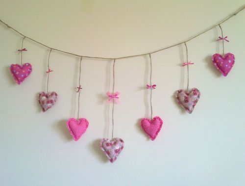 Handmade Fabric heart garland pink love heart bunting shabby chic unique gift | eBay
