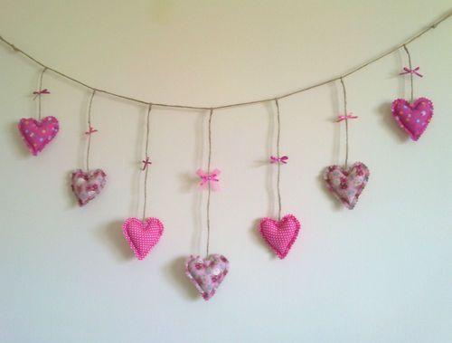 Handmade Fabric heart garland pink love heart bunting shabby chic unique gift | eBay