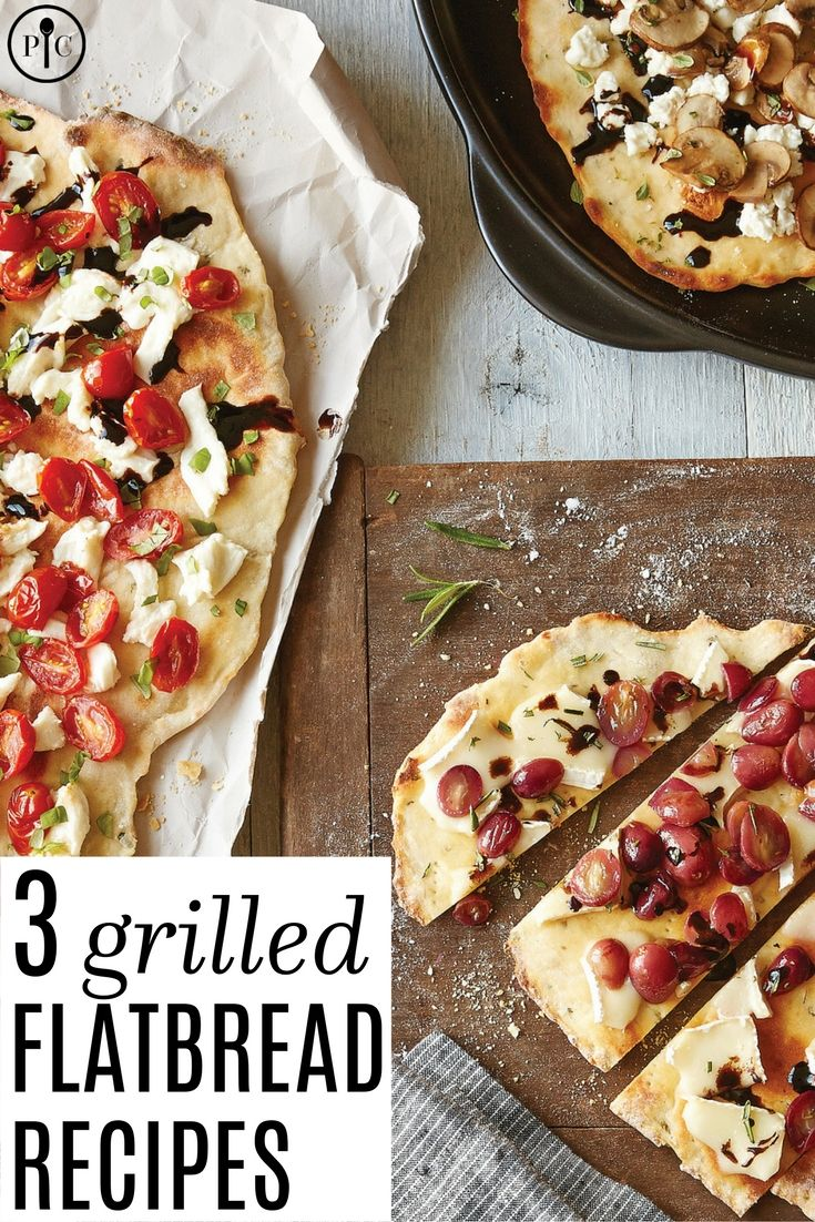 You'll love the unexpected flavor of this recipe.  Start with the quickest dough you'll ever make, and finish it off with one of three delicious topping combos: Grape, Rosemary & Brie, Mushrooom, Thyme & Goat Cheese or Tomato, Basil & Mozzarella