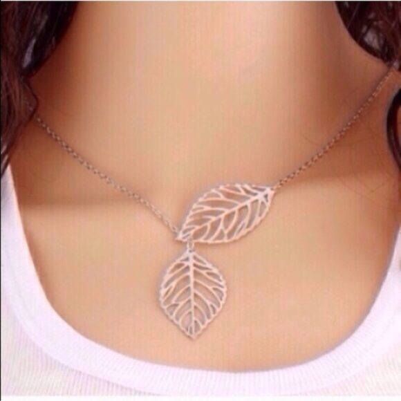 """Silver Leaf Necklace Cute silver toned zinc alloy necklace. Very lightweight. Chain is about 20"""". New in package. Jewelry Necklaces"""