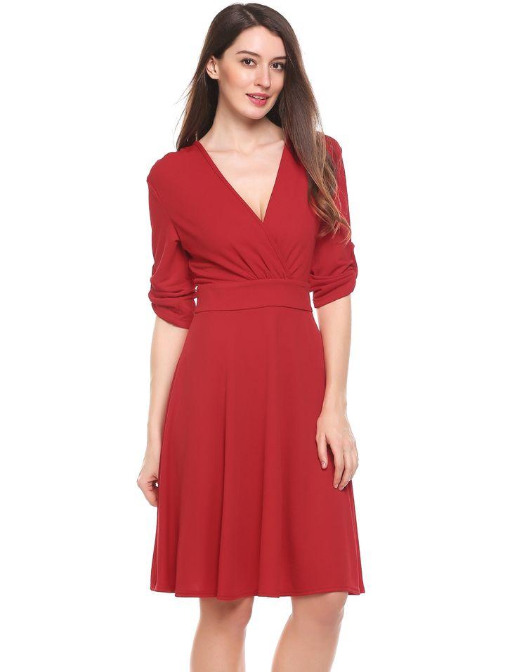 Red V-Neck Three Quarter Sleeve Tunic A-Line Elastic Going Out Dress dresslink.com