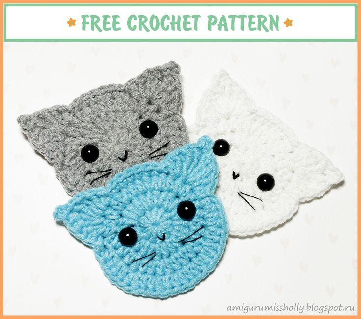Аппликация Кот крючком. Описание вязания.Free crochet pattern for beginners…