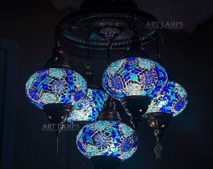 9 Globes Turkish Moroccan Mosaic Hanging Ceiling Lamp Pendant Etsy Ceiling Hanging Hanging Ceiling Lamps Mosaic Lamp
