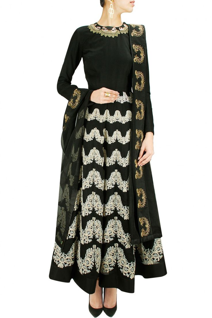 GET FLOORED : Black contrast embroidered anarkali. By Jade. Shop now at www.perniaspopups... #jade #perniaspopupshop #stunning #designer #newcollection #fashion #festive #style #updates #happyshopping